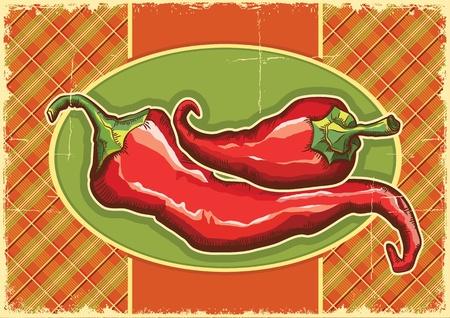 old fashioned vegetables: Red peppers on vintage label background  Illustration