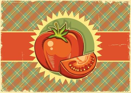 old fashioned vegetables: Red tomatos Vintage background
