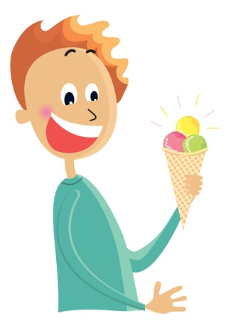 Boy eating an ice cream color cartoons