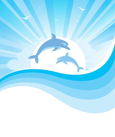 bright sun: Dolphins in blue sea nature seascape with abstract wave