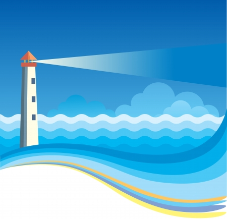 lighthouse at night: Lighthouse background nature illustration for text