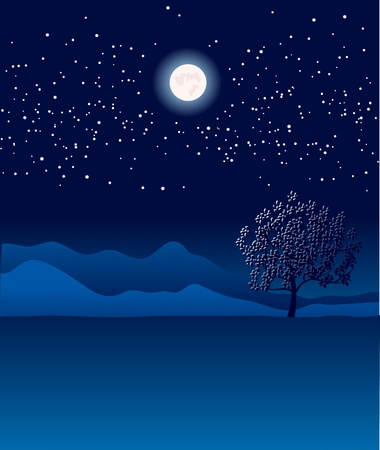 starshine: Lonely tree in night landscape Illustration