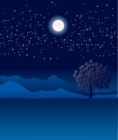 starshine: Lonely tree in night landscape Illustration