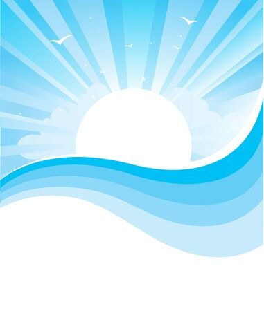 horizon over water: Sascape nature illustration with bright sun and abstract wave