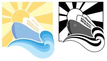steamship: Cruiseschip pictogrammen symbool illustratie voor ontwerp Stock Illustratie
