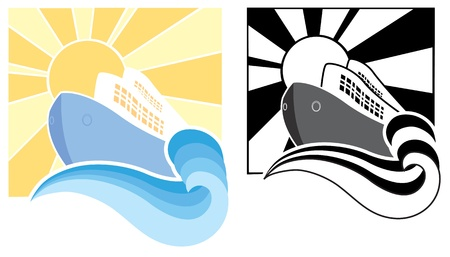 Cruise ship icons symbol illustration for design Stock Illustratie