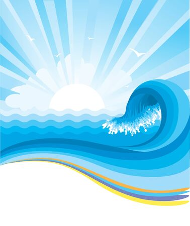 Blue wave in ocean horizon with sunlight illustration