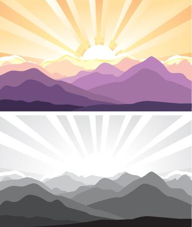 Montañas Naturaleza paisaje con la ilustración de la luz solar Ilustración de vector