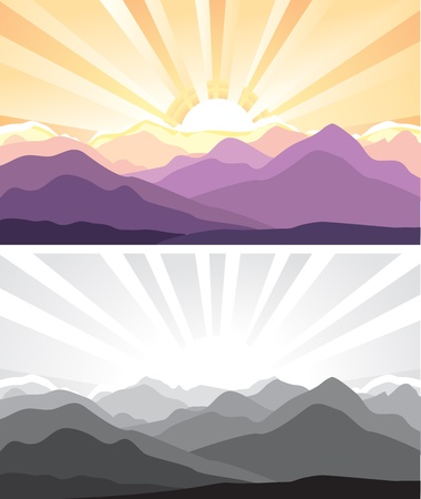 Nature mountains landscape with sunlight illustration