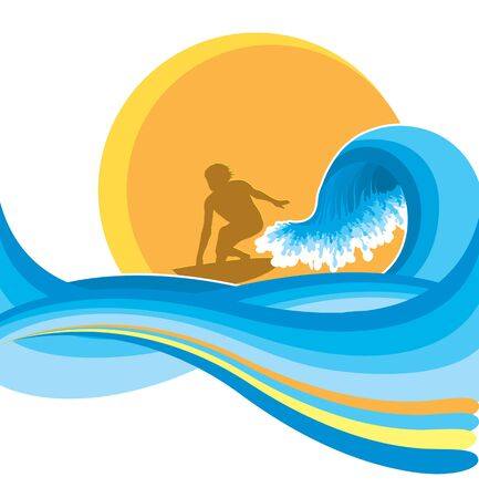 Surfing illustration man on blue wave Illustration