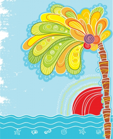 Tropical island with palm and sun color illustration