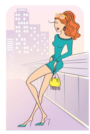 Pretty woman in fashion modern clothes in city. illustration