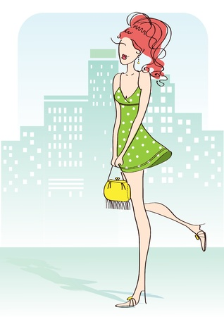 body slim: Nice woman with green little dress and yellow bag in city