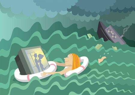 Young woman rescues her tv and looking favorite film after shipwreck in big sea