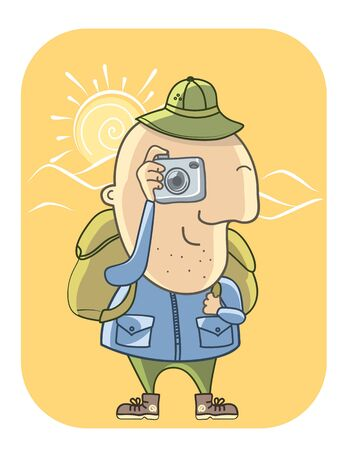 Tourist with camera man illustration Illustration