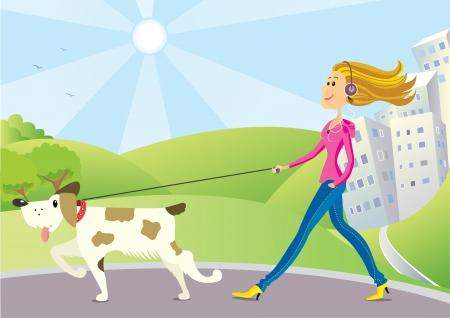 perro caricatura: mujer agradable con el perro caminando en el parque en d�a soleado