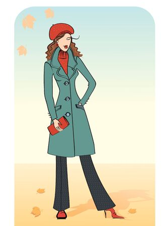 Nice woman in a warm coat illustration