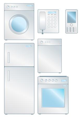 electronic elements: Insieme di elementi elettronici di consumo isolati su bianco