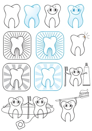 Teeth symbol illustration isolated on white  Vector