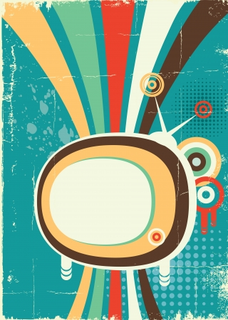 Abstract retro television. poster on old background