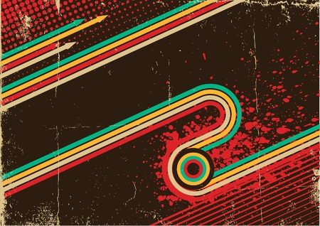 Grunge abstract with retro background on old poster  Illustration