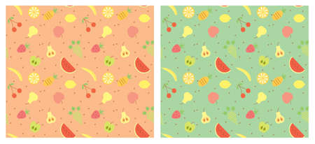 Fruits seamless pattern color illustration  Vector