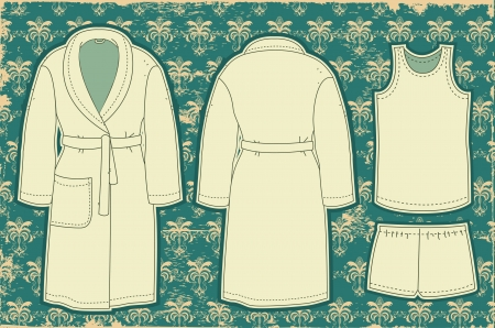 bathrobe: Bathrobe and unredwear for man Vector illustration on vintage  Illustration