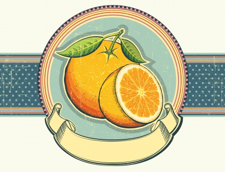 Orange fresh fruits Vintage label illustration on old paper for text