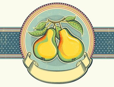 Vintage label illustration of yellow pears on old paper for text