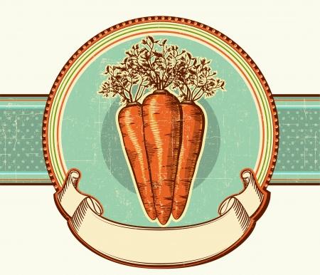 Vintage label with carrots Vector illustration background for design