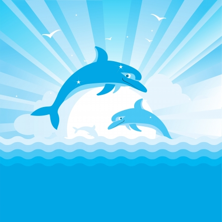 dolphin jumping: Dolphins jumping in blue sea  Vector nature seascape with sun and waves