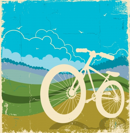 vintage nature background with bike on old paper texture Vector illustration  Illustration