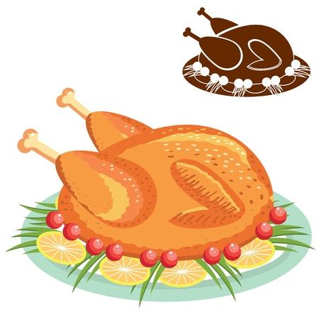 pollos asados: Pollo asado en la placa Vectores
