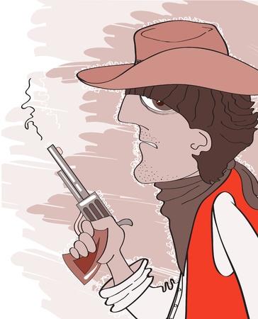 gunfire: Cowboy man in hat with gun