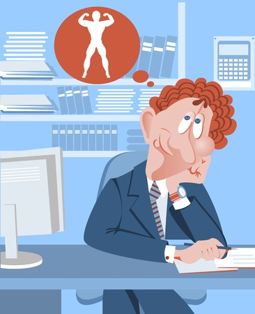 fantasize: Hombre de negocios que quiere ser un culturista. Vectores