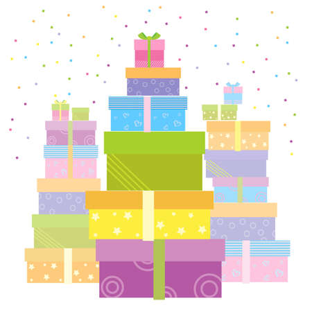 birthday present: Gift boxes for holiday. Illustration