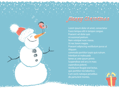 Winter card for text.Christmas blue background with bird and snowman on snow for text