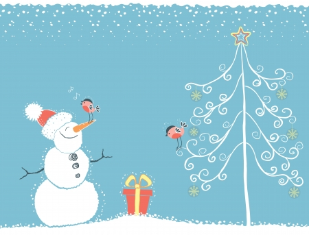 Winter card for text.Christmas blue background with birds and snowman on snow Vector