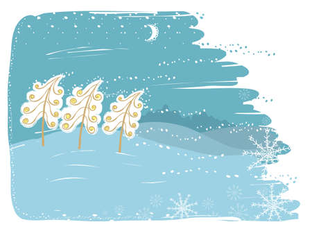 Winter card with trees on snow landscape.Vector christmas illustration Illustration