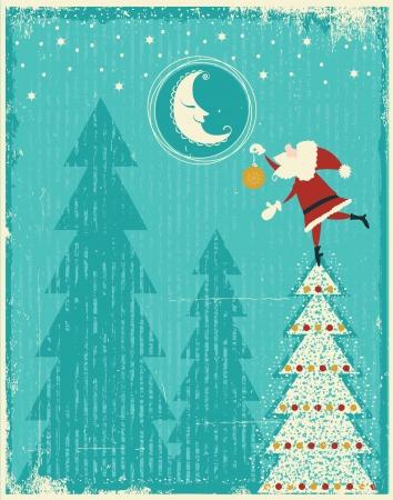tierno: Vintage tarjeta de Navidad con Santa y bonita tarjeta tierna moon.Vector para el texto en fondo antiguo