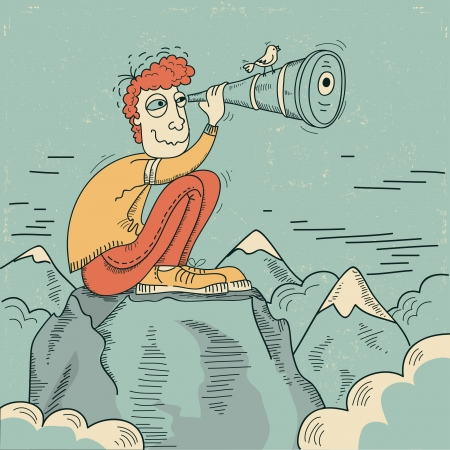Young man looking through a telescope and sitting on mountains Vector illustration Vector
