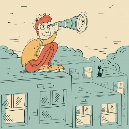 Young man looking through a telescope and sitting on roof of building Vector cartoon illustration