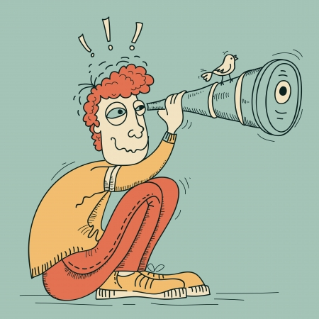 Young man looking through a telescope Vector cartoon illustration  Illustration