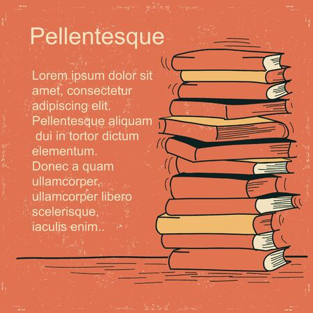 Stack of books Vector illustration for text Illustration