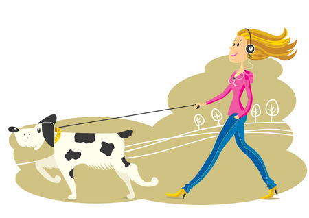 Young Woman walking the dog .Vector illustration