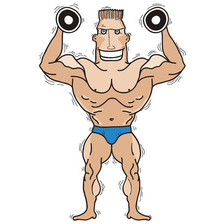 Bodybuilder Vector illustration isolated on white for design Illustration