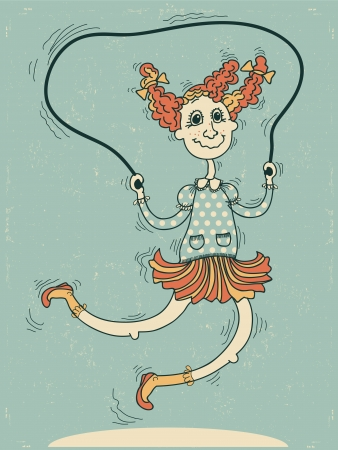 skipping: girl playing with a skipping rope Vector cartoons illustration Illustration