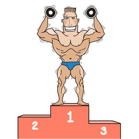 Bodybuilder on winner podium Vector illustration isolated on white for design