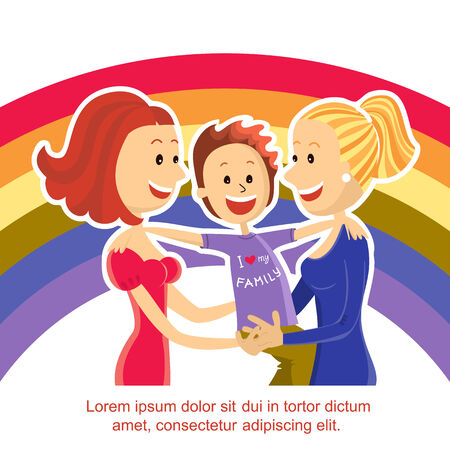 lesbian couple family with son on rainbow symbol background.Vector illustration for text