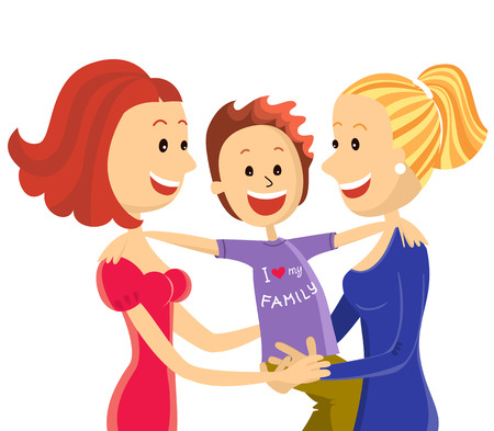 lesbian couple family with son.Vector illustration isolated on white